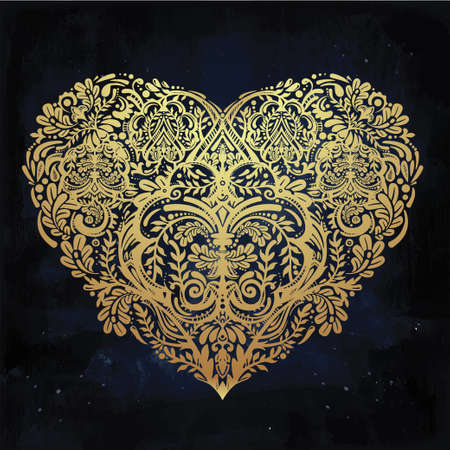red gold: Ornate hand drawn paisley lace heart. Isolated vector illustration. Baroque print for wedding invitations, greeting cards, Valentines day print, tattoos, Mothers day, logo, X- mas and textiles. Illustration