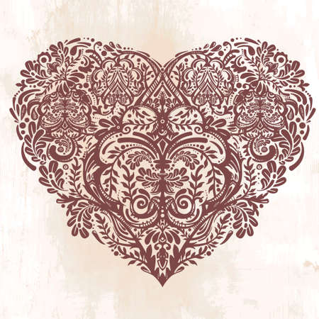 x   mas: Ornate hand drawn paisley lace heart. Isolated vector illustration. Baroque print for wedding invitations, greeting cards, Valentines day print, tattoos, Mothers day, logo, X- mas and textiles. Illustration
