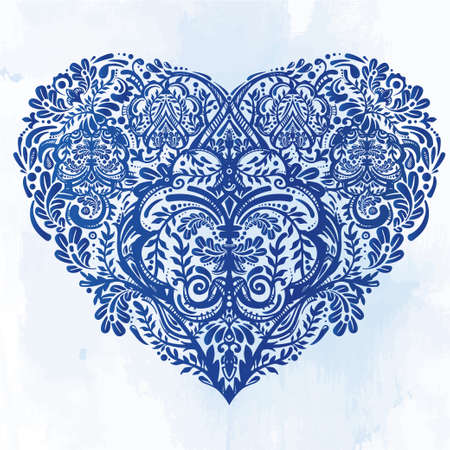 dark blue: Ornate hand drawn paisley lace heart. Isolated vector illustration. Baroque print for wedding invitations, greeting cards, Valentines day print, tattoos, Mothers day, logo, X- mas and textiles. Illustration