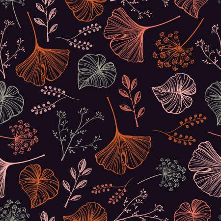 hierbas: Dibujado a mano las hojas, flores y hierbas sin patr�n. Estilo lineal elegante adorno bot�nico. Repetici�n de fondo para los textiles, papel de regalo o fondos de pantalla. Ilustraci�n vectorial aislado.