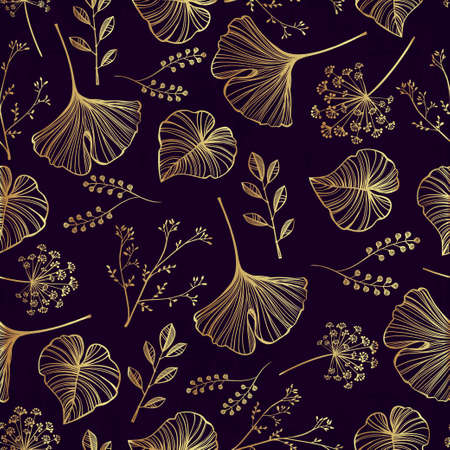 gold fabric: Hand drawn leaf, flowers and herbs seamless pattern. Elegant linear style botanical ornament. Repetition background for textiles , wrapping paper or wallpapers. Isolated vector illustration. Illustration