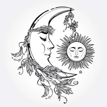 sol y luna: Dibujado a mano luna creciente con plumas y en la corona de hojas y palos. Dormir al sol al lado de �l. Ilustraci�n vectorial aislado. Elemento de la invitaci�n. Tatuaje, la astrolog�a, la alquimia, s�mbolo m�gico. Vectores