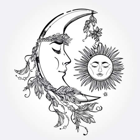 spiritual background: Hand drawn crescent moon with feathers and in the crown of leaves and sticks. Sleeping sun next to it. Isolated Vector illustration. Invitation element. Tattoo, astrology, alchemy, magic symbol.