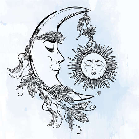 sun and moon: Hand drawn crescent moon with feathers and in the crown of leaves and sticks. Sleeping sun next to it. Isolated Vector illustration. Invitation element. Tattoo, astrology, alchemy, magic symbol.