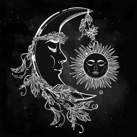 crescent: Hand drawn crescent moon with feathers and in the crown of leaves and sticks. Sleeping sun next to it. Isolated Vector illustration. Invitation element. Tattoo, astrology, alchemy, magic symbol.