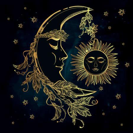 sole: Disegno a mano falce di luna con le piume e la corona di foglie e bastoni. Sleeping sole accanto ad essa. Illustrazione vettoriale isolato. Elemento invito. Tatuaggio, astrologia, l'alchimia, simbolo magico. Vettoriali