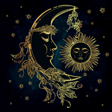 crown: Hand drawn crescent moon with feathers and in the crown of leaves and sticks. Sleeping sun next to it. Isolated Vector illustration. Invitation element. Tattoo, astrology, alchemy, magic symbol.
