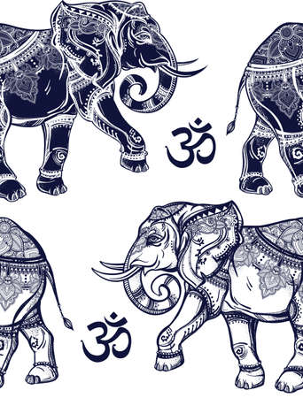 thai elephant: Ethnic ornate seamless pattern with hand drawn elephants and Ohm sign. Isolated vector illustration. For Hindu, African, Indian, Thai, boho design, spiritual print, wrapping and textiles.