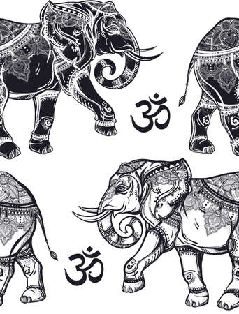 spiritual: Ethnic ornate seamless pattern with hand drawn elephants and Ohm sign. Isolated vector illustration. For Hindu, African, Indian, Thai, boho design, spiritual print, wrapping and textiles.