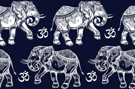 spiritual background: Ethnic ornate seamless pattern with hand drawn elephants and Ohm sign. Isolated vector illustration. For Hindu, African, Indian, Thai, boho design, spiritual print, wrapping and textiles.