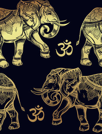 ohm: Ethnic ornate seamless pattern with hand drawn elephants and Ohm sign. Isolated vector illustration. For Hindu, African, Indian, Thai, boho design, spiritual print, wrapping and textiles.