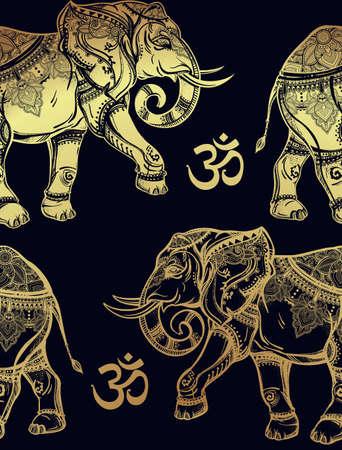 tribales: Ethnic patrón transparente adornado con elefantes dibujados a mano y Ohm señal. Ilustración vectorial aislado. Para hindú, africana, india, tailandesa, diseño boho, impresión espiritual, envasado y los textiles. Vectores