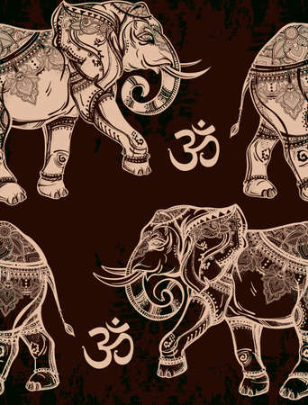 ohm symbol: Ethnic ornate seamless pattern with hand drawn elephants and Ohm sign. Isolated vector illustration. For Hindu, African, Indian, Thai, boho design, spiritual print, wrapping and textiles.