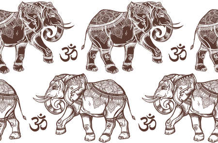 elefante: Ethnic patrón transparente adornado con elefantes dibujados a mano y Ohm señal. Ilustración vectorial aislado. Para hindú, africana, india, tailandesa, diseño boho, impresión espiritual, envasado y los textiles. Vectores