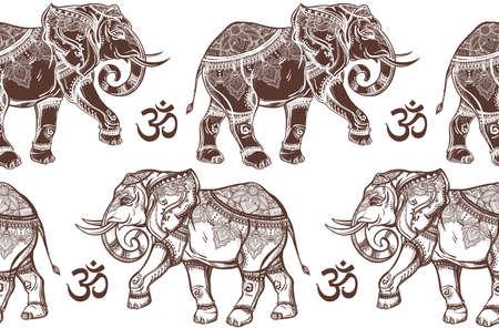 elefant: Ethnische verzierten nahtlose Muster mit Hand gezeichneten Elefanten und Ohm-Zeichen. Isolierten Vektor-Illustration. Für Hindus, afrikanischen, indischen, thailändischen, boho Design, geistige Druck, Verpackung und Textilien. Illustration
