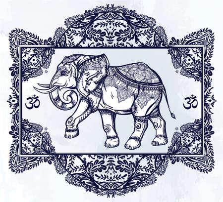 verschnörkelt: Hand gezeichnet verzierten Elefanten-Gottheit in der orientalischen floralen Rahmen. Isolierten Vektor-Illustration. Für Tätowierung, Yoga, afrikanische, indische, thailändische, boho entwurf, geistig Druck, Poster, T-Shirts und anderen Textilien.