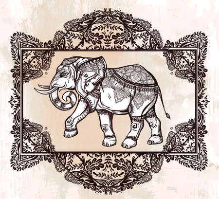 thai tattoo: Hand drawn ornate elephant deity in oriental floral frame. Isolated vector illustration. For tattoo, yoga, African, Indian, Thai, boho design, spiritual print, posters, t-shirts and other textiles.