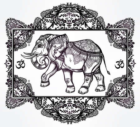 eastern: Hand drawn ornate elephant deity in oriental floral frame. Isolated vector illustration. For tattoo, yoga, African, Indian, Thai, boho design, spiritual print, posters, t-shirts and other textiles.