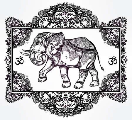 elefant: Hand gezeichnet verzierten Elefanten-Gottheit in der orientalischen floralen Rahmen. Isolierten Vektor-Illustration. Für Tätowierung, Yoga, afrikanische, indische, thailändische, boho entwurf, geistig Druck, Poster, T-Shirts und anderen Textilien.