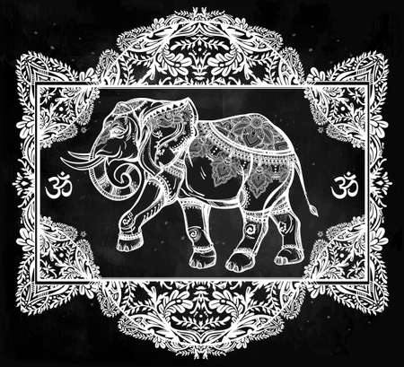 indian elephant: Hand drawn ornate elephant deity in oriental floral frame. Isolated vector illustration. For tattoo, yoga, African, Indian, Thai, boho design, spiritual print, posters, t-shirts and other textiles.