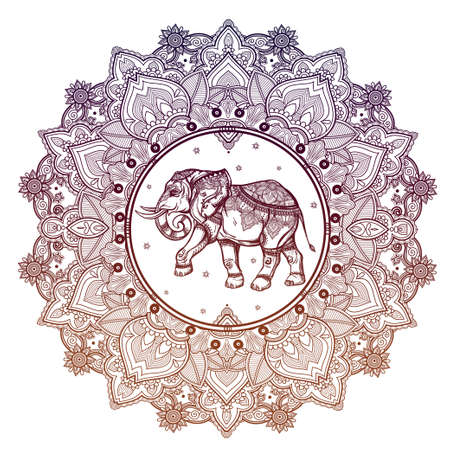 traditional tattoo: Hand drawn ornate paisley mandala with elephant inside. Ideal ethnic background, tattoo art, yoga, African, Indian,Thai, spirituality, boho design. Use for print, posters, t-shirts and other textiles. Illustration