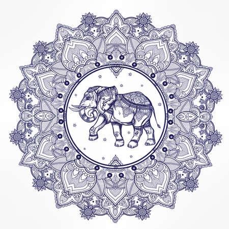 ELEFANTE: Dibujado a mano mandala de Paisley adornado con el elefante dentro. Ideal origen étnico, arte del tatuaje, el yoga,, tailandés, espiritualidad, diseño africano, indio boho. El uso para impresos, carteles, camisetas y otros textiles. Vectores
