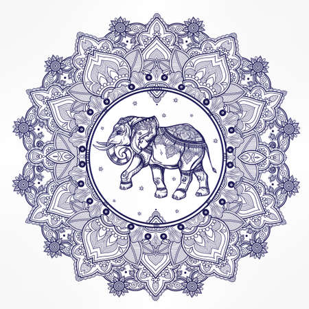elephant: Hand drawn ornate paisley mandala with elephant inside. Ideal ethnic background, tattoo art, yoga, African, Indian,Thai, spirituality, boho design. Use for print, posters, t-shirts and other textiles. Illustration