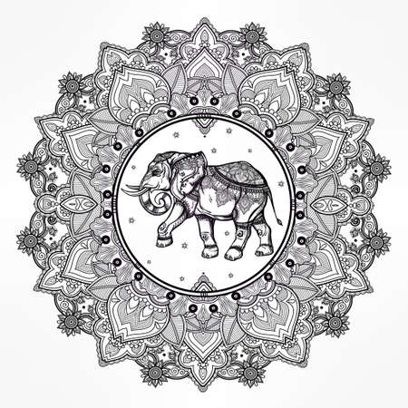 mandala tattoo: Hand drawn ornate paisley mandala with elephant inside. Ideal ethnic background, tattoo art, yoga, African, Indian,Thai, spirituality, boho design. Use for print, posters, t-shirts and other textiles. Illustration