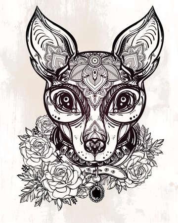 cane chihuahua: Stile Illustrazione di un volto di cane e il collare ornato Vintage. Carattere disegno del tatuaggio per gli amanti dei cani, opere d'arte per la stampa e tessuti. Vettore isolato line-art.