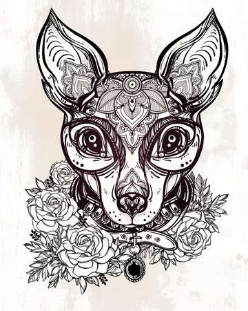 Vintage style Illustration of an ornate dog face and collar. Character tattoo design for dog lovers, artwork for print and textiles. Isolated vector line-art.