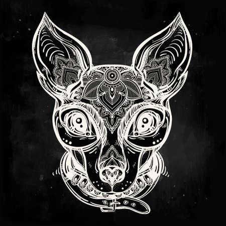 dessin fleur: Vintage style Illustration d'un visage de chien fleuri et le collier. Conception de tatouage de caract�res pour les amateurs de chiens, oeuvre pour l'impression et les textiles. Vecteur ligne art isol�.