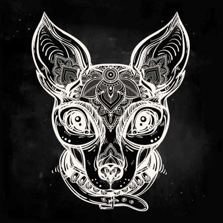 flower tattoo design: Vintage style Illustration of an ornate dog face and collar. Character tattoo design for dog lovers, artwork for print and textiles. Isolated vector line-art.