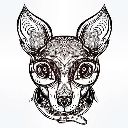 dog collar: Vintage style Illustration of an ornate dog face and collar. Character tattoo design for dog lovers, artwork for print and textiles. Isolated vector line-art.