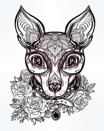 rosas negras: Estilo del ejemplo del vintage de una cara de perro adornada y collar. Diseño del tatuaje del personaje para los amantes del perro, obras de arte para la impresión y textiles. Vector de línea-arte aislado.