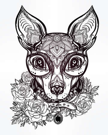 rose tattoo: Vintage style Illustration of an ornate dog face and collar. Character tattoo design for dog lovers, artwork for print and textiles. Isolated vector line-art.
