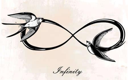 signo de infinito: Dibujado a mano intricare signo del infinito con golondrina en estilo retro vintage. Arte elegante del tatuaje, el romance, el amor, la magia, la libertad, la cocción de chatarra, textiles, invitaciones. Ilustración vectorial aislado. Vectores