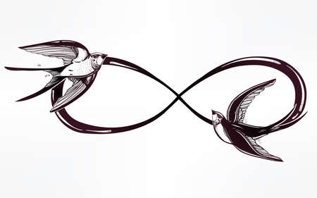 signo infinito: Dibujado a mano intricare signo del infinito con golondrina en estilo retro vintage. Arte elegante del tatuaje, el romance, el amor, la magia, la libertad, la cocción de chatarra, textiles, invitaciones. Ilustración vectorial aislado. Vectores