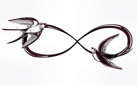 infinito simbolo: Disegnata a mano intricare infinito segno con rondine in stile retrò vintage. Elegante arte del tatuaggio, il romanticismo, l'amore, magia, la libertà, rottami cucina, tessuti, inviti. Illustrazione vettoriale isolato.
