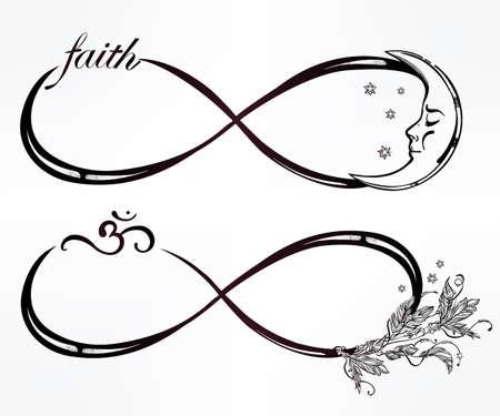 infinito simbolo: Mano intricare dibujado signo infinito Mini establecido en el estilo retro vintage. Arte elegante del tatuaje, el romance, el amor, la magia, la libertad, la cocción de chatarra, textiles, invitaciones. Ilustración vectorial aislado. Vectores