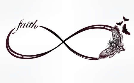signo de infinito: Dibujado a mano el infinito intricare signo de estilo retro de la vendimia con la polilla. Arte elegante del tatuaje, el romance, el amor, la magia, la libertad, la cocción de chatarra, textiles, invitaciones. Ilustración vectorial aislado.