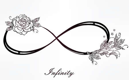 infinity sign: Hand drawn intricare infinity sign in vintage retro style with rose. Elegant tattoo art, romance, love, magic, freedom ,scrap cooking, textiles, invitations. Isolated vector illustration. Illustration