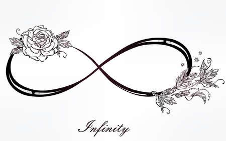romance: Mão sinal desenhado infinito intricare no estilo retro do vintage com rosas. Arte elegante da tatuagem, romance, amor, magia, liberdade, cozinhar sucata, têxteis, convites. Ilustração isolada do vetor.