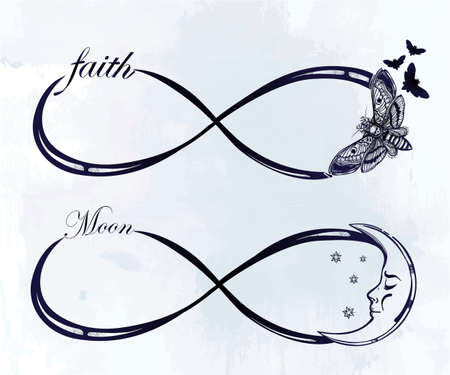 signo de infinito: Mano intricare dibujado signo infinito establecido en el estilo retro vintage. Arte elegante del tatuaje, el romance, el amor, la magia, la libertad, la cocción de chatarra, textiles, invitaciones. Ilustración vectorial aislado.