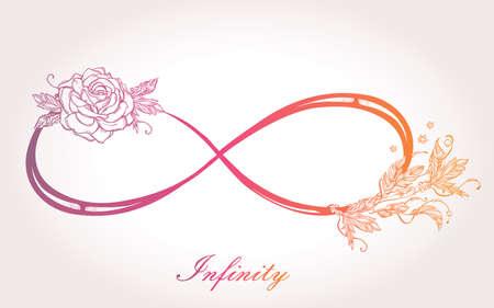 signo infinito: Dibujado a mano el infinito intricare signo de estilo retro de la vendimia con la rosa. Arte elegante del tatuaje, el romance, el amor, la magia, la libertad, la cocción de chatarra, textiles, invitaciones. Ilustración vectorial aislado. Vectores