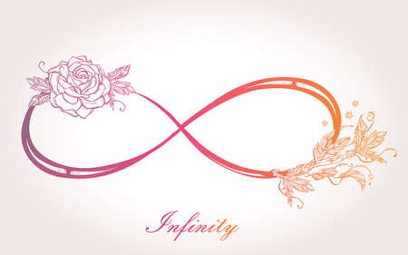 rose tattoo: Hand drawn intricare infinity sign in vintage retro style with rose. Elegant tattoo art, romance, love, magic, freedom ,scrap cooking, textiles, invitations. Isolated vector illustration. Illustration