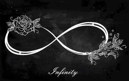 Hand drawn intricare infinity sign in vintage retro style with rose. Elegant tattoo art, romance, love, magic, freedom ,scrap cooking, textiles, invitations. Isolated vector illustration. Illustration