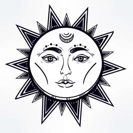 caras: Hermoso s�mbolo brillante de la vendimia rom�ntica estrella. Estilo medieval envejecido. Elementos de invitaci�n. Ilustraci�n vectorial aislado. Elemento de la invitaci�n. Tatuaje, la astrolog�a, la alquimia, la magia, el espacio y el s�mbolo de la naturaleza. Vectores