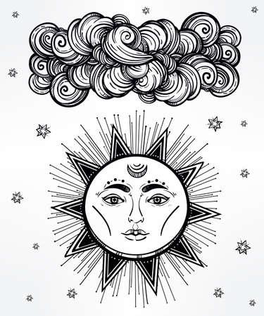 medieval: Estrella brillante de la vendimia y símbolo de la nube. Estilo medieval envejecido. Elementos de invitación. Ilustración vectorial aislado. Elemento de la invitación. Tatuaje, la astrología, la alquimia, la magia, el espacio y el símbolo de la naturaleza.