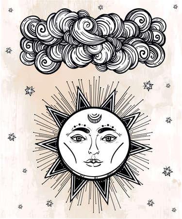 medievales: Estrella brillante de la vendimia y s�mbolo de la nube. Estilo medieval envejecido. Elementos de invitaci�n. Ilustraci�n vectorial aislado. Elemento de la invitaci�n. Tatuaje, la astrolog�a, la alquimia, la magia, el espacio y el s�mbolo de la naturaleza.