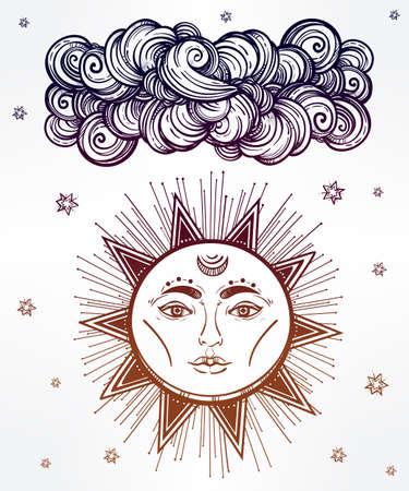 stile: Vintage stella lucida e simbolo nuvola. Di et� compresa tra stile medievale. Elementi invito. Illustrazione vettoriale isolato. Elemento invito. Tatuaggio, astrologia, l'alchimia, la magia, lo spazio e il simbolo della natura. Vettoriali